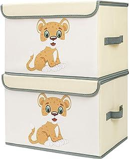 DIMJ Lot de 2 Boîte de Rangement Enfant pour Jouets Pliable, Coffres à Jouets Grande Capacité Caisse de Rangement avec Cou...