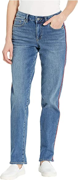 Cuffed Straight Leg Jeans with Red Piping in Spectrum Blue
