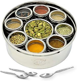 MARU 9 in 1 Spice Box Stainless Steel stylish Extra Large | Masala Box for Kitchen Steel | Masala Dabba Steel | Masala Dan...
