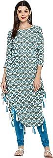 Vbuyz Indian Kurti for Women Asymmetric White,Sky Blue Tunic Tops for Womens