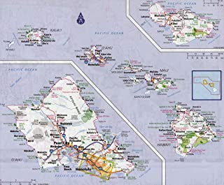 Gifts Delight Laminated 29x24 Poster: Large Detailed Road map of Hawaii Islands with All Cities and villagesMaps of