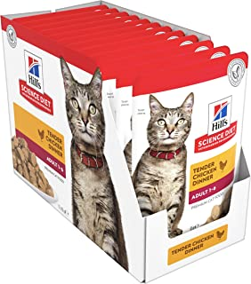 Hill's Science Diet Adult Wet Cat Food, Chicken Cat Food Pouches, 85g, 12 Pack