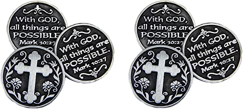 Pewter POCKET Tokens WITH GOD All Things ARE Possible - MARK 10:27 - 1