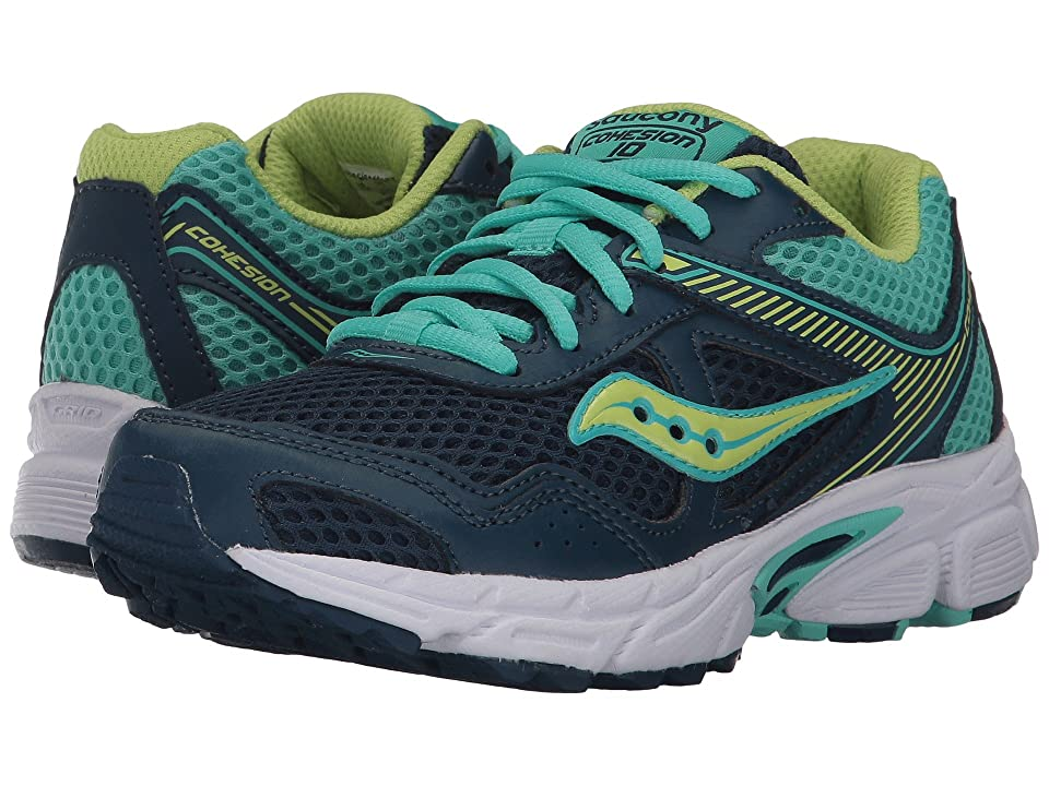 Saucony Kids Cohesion 10 LTT (Little Kid/Big Kid) (Navy/Turquoise) Girls Shoes