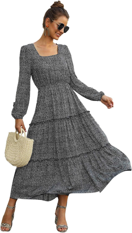 SweatyRocks Women's Long Sleeve Floral Print Flared Flowy Chiffon Maxi Dress