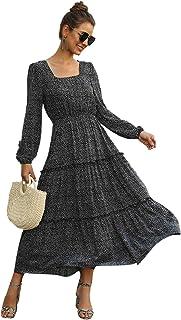 SweatyRocks Women's Chiffon Long Sleeve Floral Print Ruffle A Line Swing Long Dress