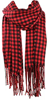 SOJOS Womens Plaid Scarf Large Long Blanket Check Wrap Shawl with Tassel SC315