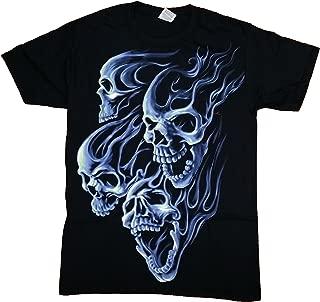 Flaming Blue Skulls Graphic T-Shirt