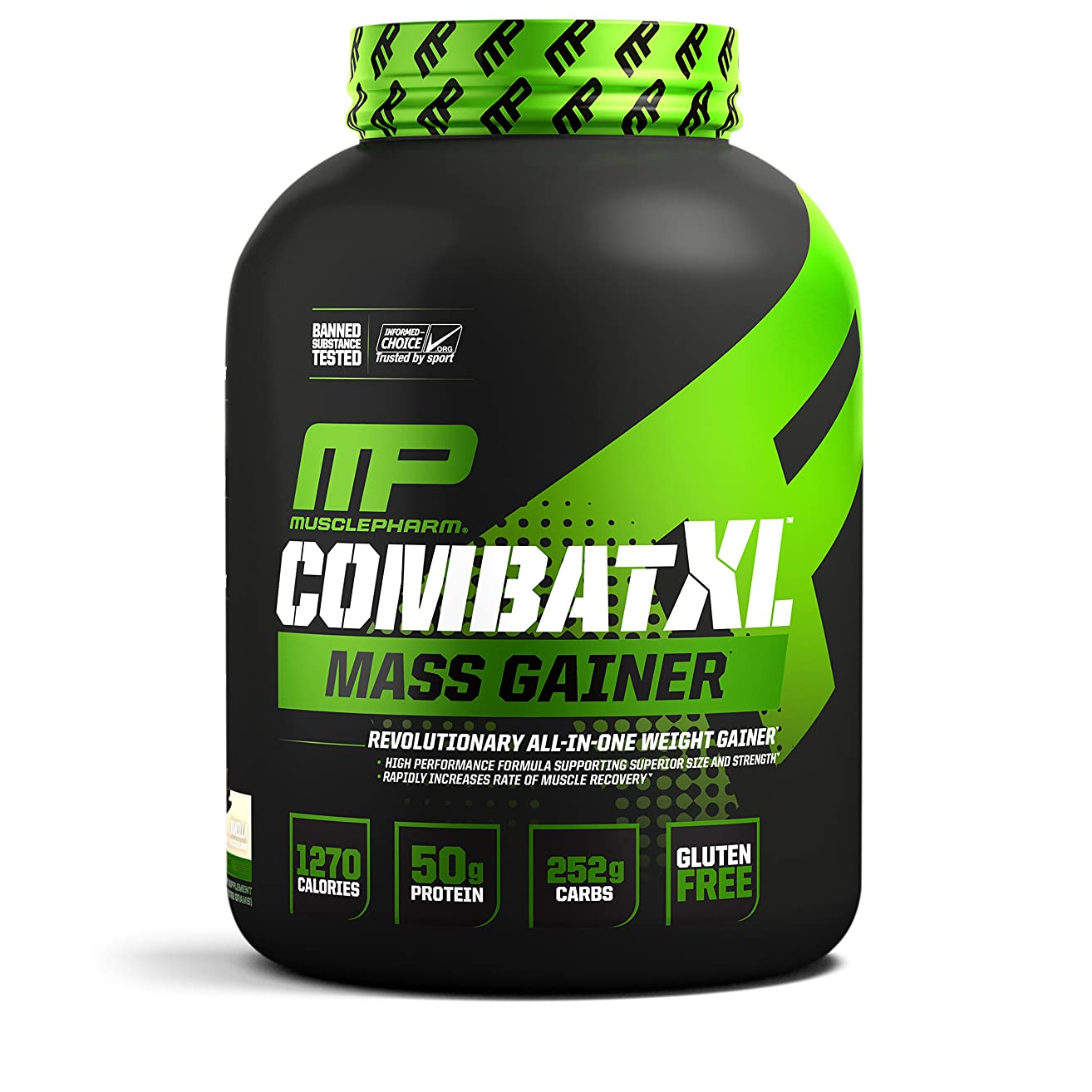 MusclePharm Combat XL Mass-Gainer Powder, Weight Gainer Protein Powder, 1270 Calories per Serving, 50 Grams of Protein, MCTS Flax and Chia Seeds, Vanilla, 6-Pounds