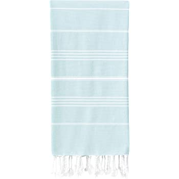 Wetcat Original Turkish Beach Towel (39 x 71) - Prewashed Peshtemal, 100% Cotton - Highly Absorbent, Quick Dry and Ultra-Soft - Washer-Safe, No Shrinkage - Stylish, Eco-Friendly - [Aqua]