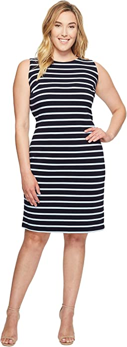 Plus Size Sleeveless Textured Stripe Dress