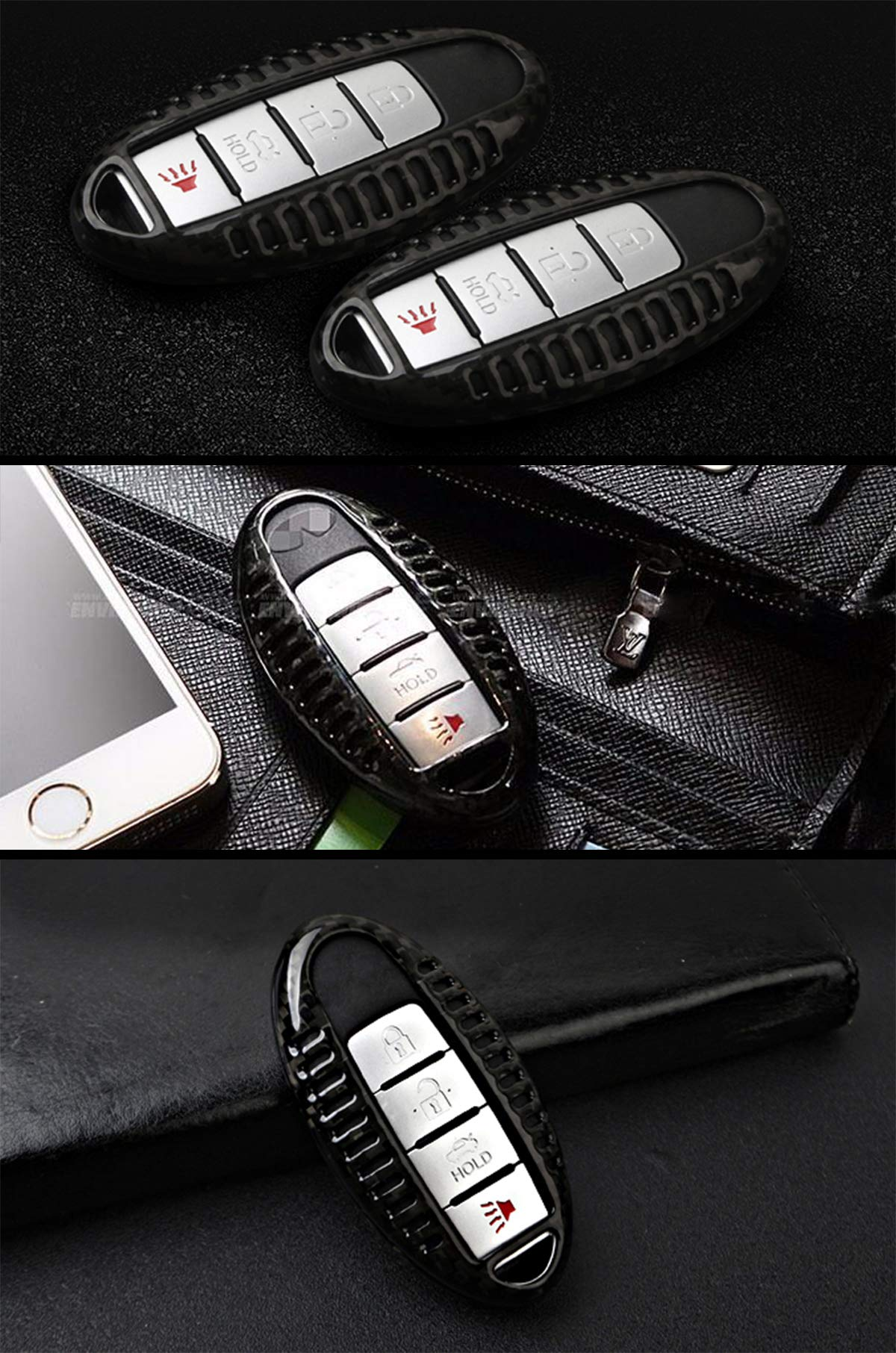 Auto keyless New Black and Red Protecting Bag Silicone Smart Remote Key Case Cover for 4 Buttons Infiniti G Series G37 JX35 Q Series Q50 Q60S Q70L QX EX FX M Smart Key Case Shell Fob