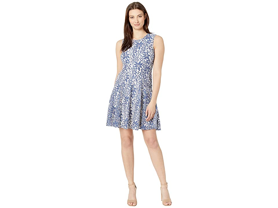 Tommy Hilfiger Indigo Lace Fit and Flare Dress (Denim/Ivory) Women