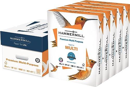 Hammermill Printer Paper, Premium Multipurpose Paper 20 lb, 8.5 x 11 - 5 Ream (2,500 Sheets) - 92 Bright, Made in the...