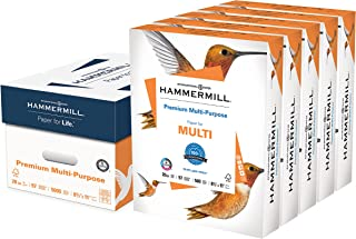 Hammermill Printer Paper, Premium Multipurpose Paper 20 lb, 8.5 x 11 - 5 Ream (2,500 Sheets) - 97 Bright, Made in the USA