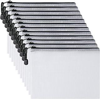 حقيبة بسحاب شبكية بلاستيكية 12.7 سم × 20.32 سم (أسود، 12 قطعة)، حقيبة بسحاب مقاومة للماء كبيرة للغاية لللوازم المكتبية الم...