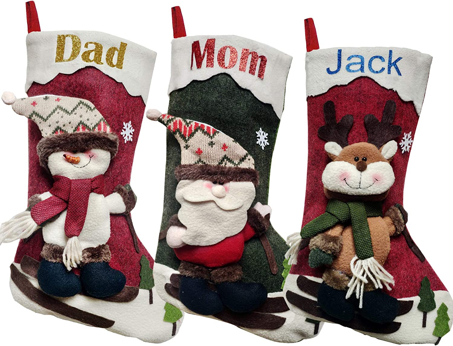 """XENTUMI Personalized Name Christmas Stockings 18"""" 3 Overseas parallel import regular item Popularity of Set"""