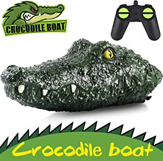 Remote Control Boat RC Boat 2.4G High-Speed Simulation Remote Control Crocodile Head Waterproof Prank Toys for Pools and Lakes, Floating Crocodile Head Remote Control Boat for Kids Adults Boys Girls