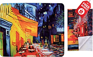 Van Gogh Café Terrace at Night Mouse Pad with Colorful Classic Artwork Design. Non Slip Base. Matching Microfiber Cleaning Cloth for Eye Glasses & Electronics. Cool Mouse Pad for Laptop & Travel
