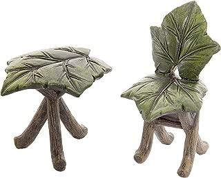 Darice Fairy Garden Furniture, Mini, 2 Pieces Leaf Table & Chair Set