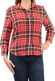 RALPH LAUREN D & S 60 Womens New 1032 Red Plaid Pocketed Cuffed Top L B+B