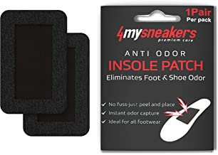 4mysneakers - Anti Odor Shoe Patches with Activated Carbon Fiber | Strong Adhesive Stays in Place for Months | Comfortable Sneaker, Shoe & Bag Deodorizer & Smell Eliminator | Fits Kids & Adult Shoes