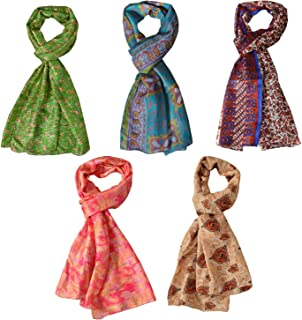 Scarves Bulk Printed Pure Silk Scarf Wholesale Shawl Lot of 5 Pcs Stoles