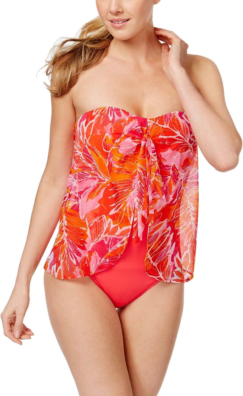 RALPH LAUREN Lauren Women's Lush Tropical Print Mesh Flyaway One-Piece Swimsuit