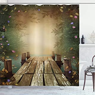 Ambesonne Spring Shower Curtain, Coming of The Spring Themed Lake and Blooming Flowers Illustration with Wooden Pier, Cloth Fabric Bathroom Decor Set with Hooks, 70
