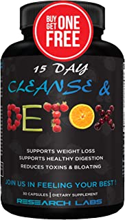 2 for 1 Deal Research Labs 15 Day Colon Cleanse & Detox for Weight Loss - Constipation Relief - Flushes Toxins, Boosts Ene...