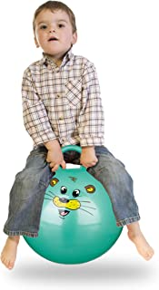 Relaxdays Bola Saltarina para Niños, Pelota Saltar Animales, Balón Infantil, 45 cm Diámetro, PVC, Verde, color, 45 x 45 x 55 cm (10022554_53) , color/modelo surtido