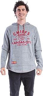 Ultra Game NFL Kansas City Chiefs Mens Fleece Hoodie Pullover Sweatshirt Vintage Logo, Gray Snow, Small