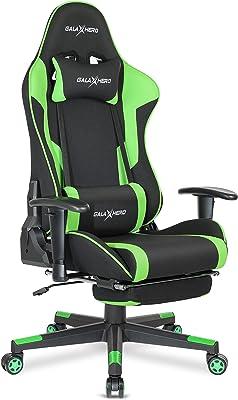 GALAXHERO ゲーミングチェア オットマン げーみんくチェア eスポーツ用椅子 オフィスチェア 通気性 リクライニング ハイバック ランバーサポート ファブリック ADJY604GE