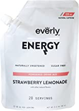 Everly Energy - Natural Energy Drink Mix Powder, Sugar Free, Natural Sweeteners, Organic Caffeine, Keto Diet, Water Flavoring & Enhancer - Pouch, 20 Servings, Strawberry Lemonade