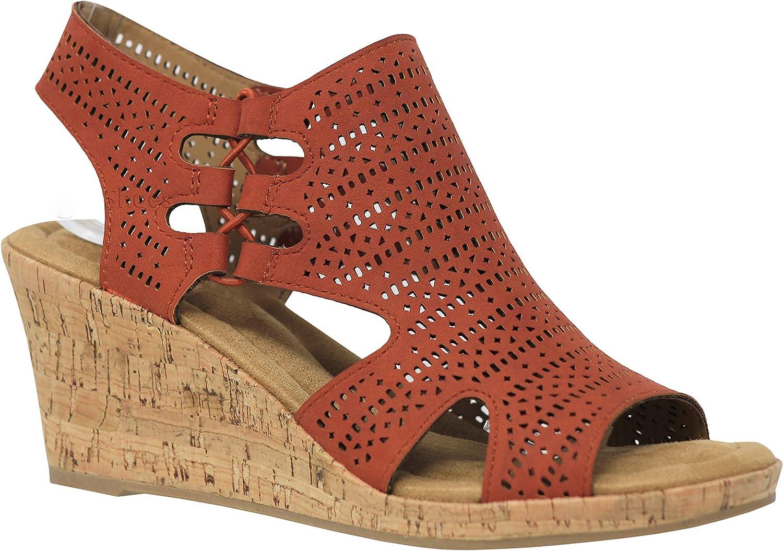 MVE Shoes Women's Medium Cork Wedge Open Toe Slide in Comfort Sandal
