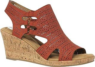 06904a34250 MVE Shoes Women s Medium Cork Wedge Open Toe Slide in Comfort Sandal