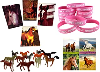 Funabaloo Cowgirl Horse Birthday Party Favor Supplies 60 Piece Bundle (12 Pink Horse Wristbands, 12 Horse Mini Note Pads, 12 Mini Plastic Toy Horses, 24 Horse & Pony Stickers)