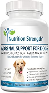 Nutrition Strength Adrenal Support for Dogs, Support for Dogs with Cushing's Disease, Maintain a Healthy Coat and Skin, Promote Normal Urination, Thirst and Appetite, 120 Chewable Tablets