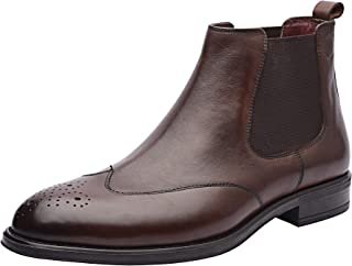 Gerard Men's Boots, Genuine Leather Wingtip Chelsea Boots Men, Ankle Dress Boot for Men