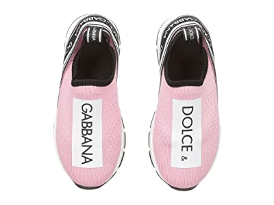 Dolce & Gabbana Kids Jersey Slip-On Sneaker (Toddler/Little Kid) (Rose/White) Girl