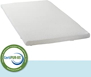 """LuxyFluff 2-Inch Gel-Infused Memory Foam Mattress Topper for Cribs and Toddler beds, with Added Ventilated Removable Washable Bamboo Cooling Cover and Corner Straps – 52""""x27""""x2"""""""