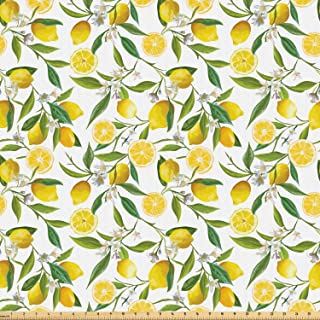 Ambesonne Nature Fabric by The Yard, Exotic Lemon Tree Branches Yummy Delicious Kitchen Gardening Design, Microfiber Fabric for Arts and Crafts Textiles & Decor, 1 Yard, Fern Green