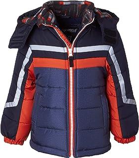 Sportoli Boys' Fleece Lined Hooded Colorblock Winter Puffer Bubble Jacket Coat
