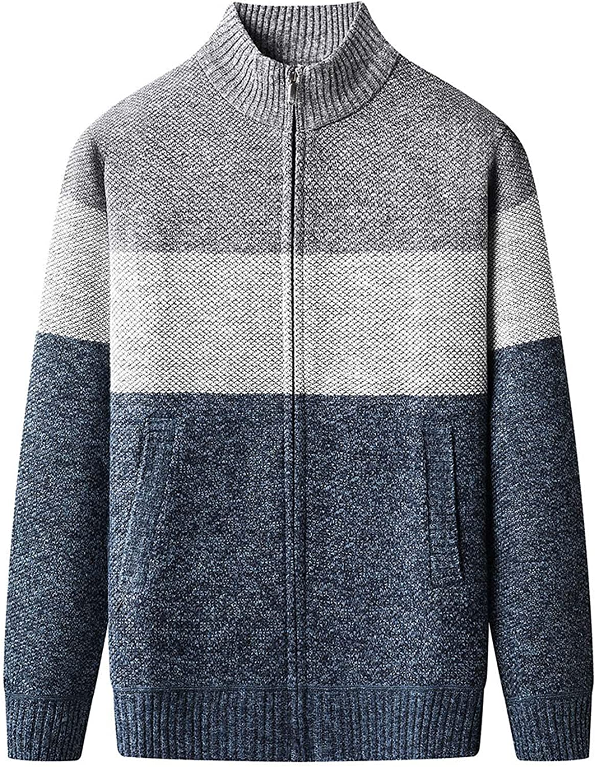 Men's Jackets Slim Fit Autumn Winter Color Matching Cardigan Stand-up Collar Long Sleeve Casual Knitted Sweater Coat