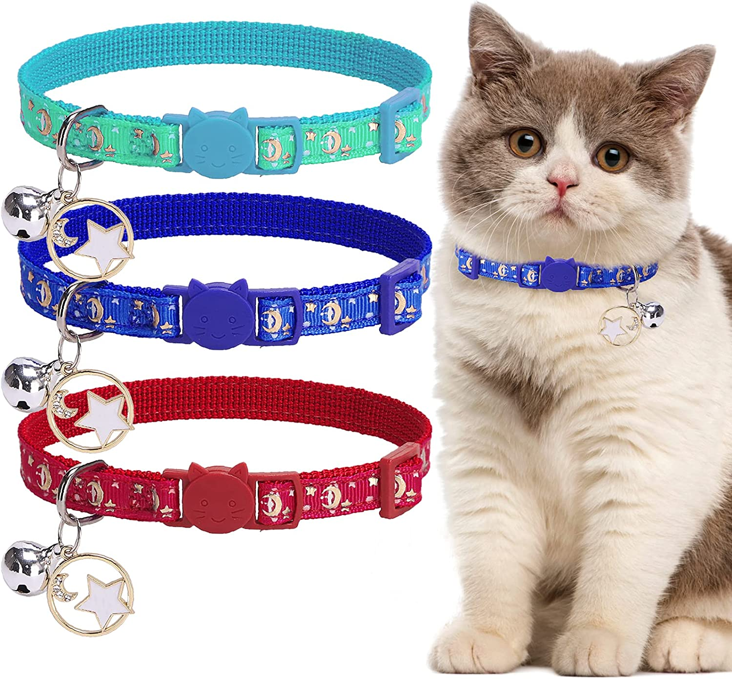 TAILGOO Same day shipping Luminous Cat Collar 3 Pack for Adjustable Pets Collars Easy-to-use -