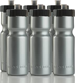 50 Strong 6-Pack of Sports Squeeze Water Bottles - 22 oz. BPA Free Bike & Sport Bottle with Easy Open Push/Pull Cap – Made in USA