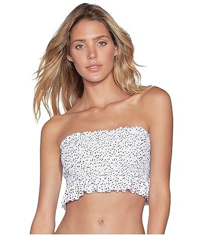 Maaji Sands Aphrodite Reversible Smocked Bandeau Bikini Top (Sugar White Dot) Women