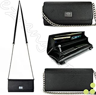 Case+Stand, PU Leather Women Luxury Smart Phone Purse/Pouch/Clutch. Fits ALCATEL KYOCERA Nokia Sony etc. Universal Shoulder Strap Handle Flip Wallet – Black. Fits The Following Models: