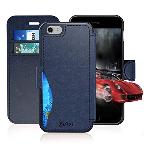 acc9eac2d9b52e iPhone 6/6S Leather Wallet Case with Cards Slot and Metal Magnetic, Slim Fit