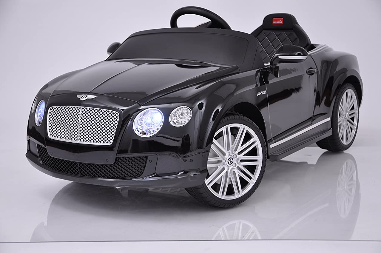 Bentley Continental Power 12V Electric Car for Kids - Ride On Car - Battery Powered Ride On Toy Car - with Remote Control - Kids Ride On Toy GT Speed Convertible MP3 Radio Horn Black